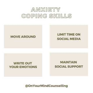 Take a deep breath and implement one of the actions into your day today. We all have the opportunity to be proactive by managing our anxiety before it manages us. Have questions about this? Contact us through our website www.OnYourMindCounselling.com and we can set up a time to chat.