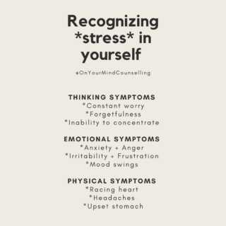 """Most everyone finds themselves claiming to be """"stressed"""" - especially these days! But, what is actually going on in our minds + bodies when express feeling stressed? Here are some tell-tale symptoms you can recognize so you can make a move to take care of yourself in the ways you need! #OnYourMindCounselling"""