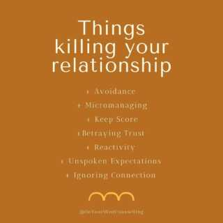 """Recognize any of these? Whether in yourself or in your partner, it is important to recognize what behaviors are negatively impacting our relationship. If you need help discovering what's going """"wrong"""" or you know good and well what is wrong and you're ready for some healing, then we are here for you. We are master degree-trained experts in helping couples develop stronger relationships, and we would be honored to help you with yours. Book your first appointment at OnYourMindCounselling.com."""